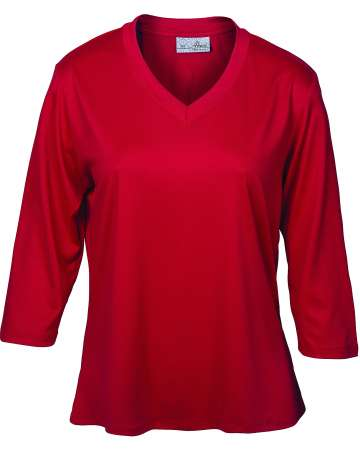 162-SPJ Ladies' 3/4 Sleeve V-Neck Tee