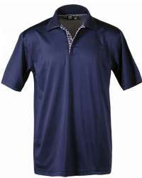1345-AQD Men's Plaid Placket Polo