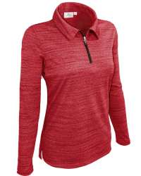 480-TSJ Ladies' Long Sleeve Quarter Zip Polo Tiger Stripe Jersey