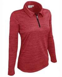 480-TSJ Ladies' Long Sleeve Quarter Zip Polo Tiger Stripe Jersey