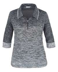 481-OBJ Ladies' 1/4 Zip 3/4 Sleeve Ombre Top