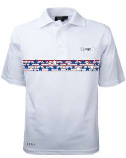 1372-PTM*WHT Men's Patriotic Polo
