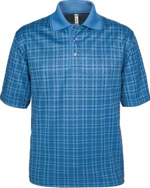 1370-SPP*BLUE Blue Plaid Men's Polo Sublimated