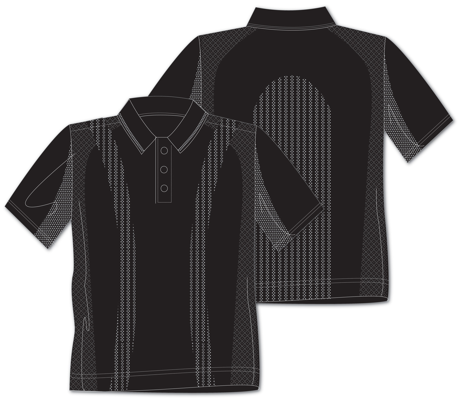 body mapping polo shirt line drawings