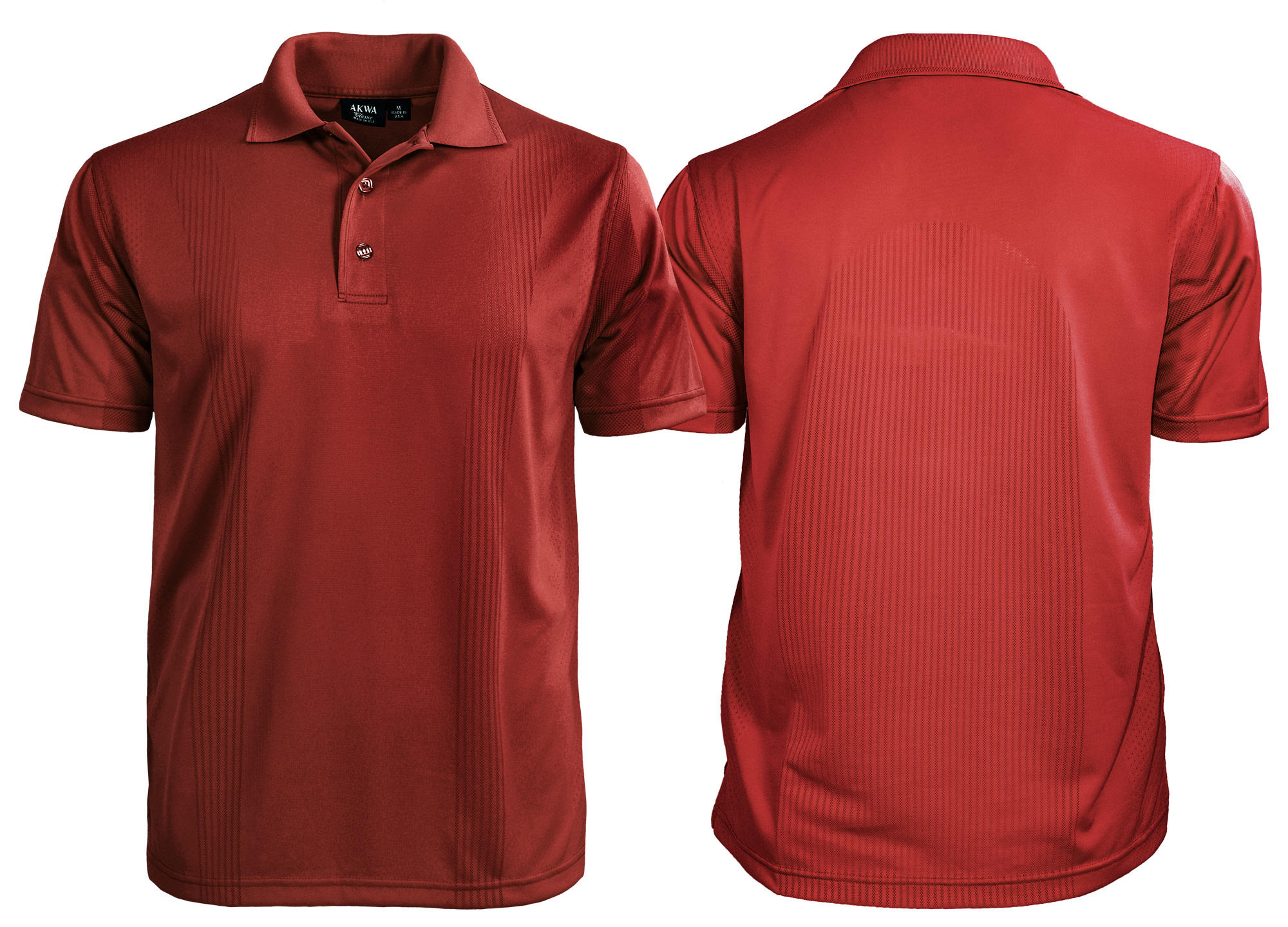 body mapping polo shirt with front and back view