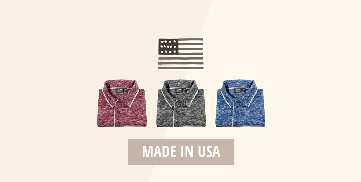 akwa made in usa ombre polo shirt